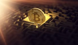 Bitcoin in het donkere labyrint en de heldere zon flakkeren als teken van welvaart Is Bitcoin verloren Conceptueel ontwerp het 3d vector illustratie
