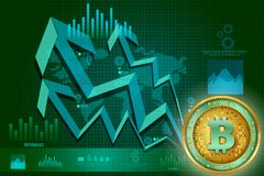 Bitcoin on hi-tech cryptocurrency digital currency with encryption techniques financial background Royalty Free Stock Image