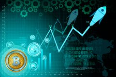 Bitcoin on hi-tech cryptocurrency digital currency with encryption techniques financial background Stock Photos