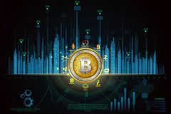 Bitcoin on hi-tech cryptocurrency digital currency with encryption techniques financial background Stock Image
