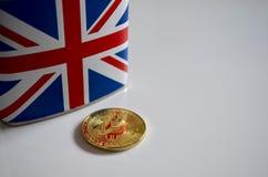 Bitcoin with hip flask union jack flag stock photos