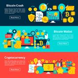 Bitcoin Horizontal Banners. Vector Illustration for Website Header. Cryptocurrency Items Flat Design Royalty Free Stock Photos