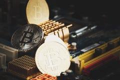 Bitcoin i blockchain, miękki ostrości tło Obrazy Stock