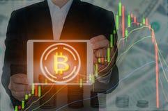 Bitcoin i Blockchain pojęcie Zdjęcia Stock
