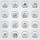 Bitcoin i Blockchain technologii guzika Crypto ikony Zdjęcie Stock