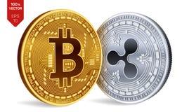 Bitcoin i czochra 3D badania lekarskiego isometric monety Cyfrowej waluta Cryptocurrency Srebna moneta z czochra symbolem i złotą ilustracji