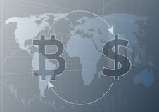 Bitcoin i dolarowi symbole royalty ilustracja
