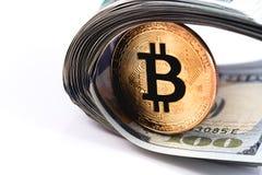 Bitcoin i dolary fotografia royalty free