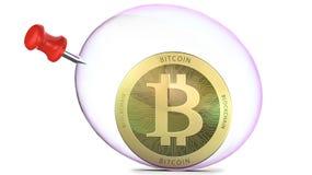 Bitcoin i en såpbubbla med push-stiftet, tolkning som 3d isoleras på vit bakgrund Begrepp av investeringrisker i bit Royaltyfri Fotografi