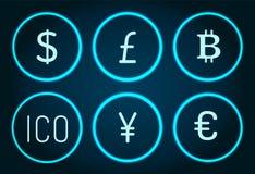 Bitcoin i Funtowi Sterlings Ico ikona Ustawiającego wektoru ilustracji