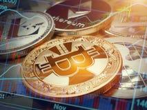 Bitcoin i inne monety nad euro wykresem banknotu i rynek papierów wartościowych zdjęcie royalty free