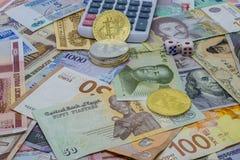 Bitcoin i obca waluta rynki walutowi - inwestycja lub hazard fotografia royalty free