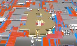 Bitcoin i obwodu diagrama neonowy pojęcie, 3d ilustracja wektor