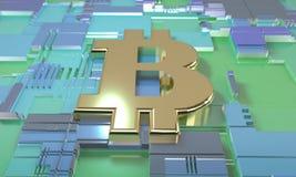 Bitcoin i obwodu diagrama pojęcie, 3d royalty ilustracja