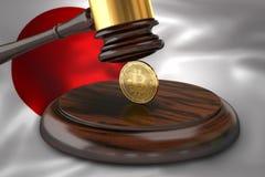 Bitcoin i sędziego młoteczek kłaść na flaga Japonia Obraz Stock