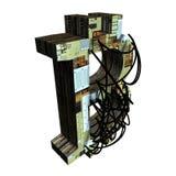 bitcoin i trådar på en vit modell för bakgrund 3d med brädetextur Royaltyfri Fotografi
