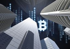 Bitcoin icon and binary code lines in sky above 3D city buildings. Digital composite of Bitcoin icon and binary code lines in sky above 3D city buildings Royalty Free Stock Images