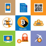 Bitcoin icon collection Stock Images