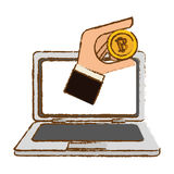 Bitcoin icon, digital currency symbol. Hand in the computer Stock Photo