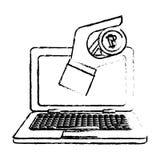 Bitcoin icon, digital money symbol. Hand in the computer Royalty Free Stock Photos