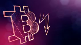Bitcoin icon and lightning bolts. Financial background made of glow particles as vitrtual hologram. Shiny 3D seamless