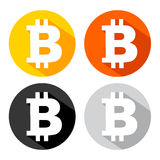 Bitcoin icon with long shadow effect Royalty Free Stock Images
