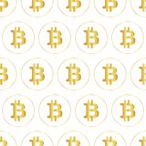Bitcoin icon seamless vector pattern. Metallic gold foil crypto currency symbols on white background. royalty free stock image