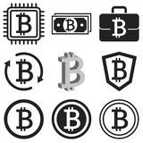 Bitcoin icon set. Black bitcoin symbols isolated on white. Bitcoin icon set. Vector illustrations for articles about mining, exchange of crypto currency, e Stock Images