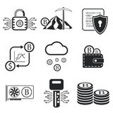 Bitcoin icon set. Vector illustration. Bitcoin icon set. Crypto currency and mining icons. Vector illustration EPS10 Stock Photography