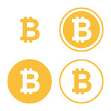 Bitcoin icon set. Digital currency symbol. golden coin with bitcoin sign. isolated on white background. vector illustration royalty free illustration