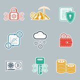 Bitcoin icon set. Vector illustration. Bitcoin icon set. Crypto currency and mining icons. Vector illustration EPS10 Stock Photos