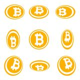 Crypto currency Bitcoin symbol in the circle flat design perspective version set vector illustration isolated on white background. EPS 10 royalty free illustration