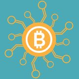 Bitcoin icon vector of digital money for web design or mobile app. Cryptocurrency symbol image. Bitcoin icon vector of digital money for web design or mobile Stock Illustration