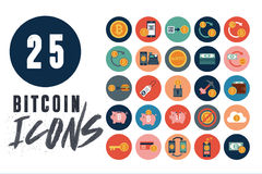25 Bitcoin icons. Bitcoins are the new thing. The digital currency is growing faster than ever. Be a part of the revolution with this twenty-five pack of Bitcoin Royalty Free Stock Photo