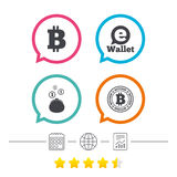 Bitcoin icons. Electronic wallet symbol. Stock Images
