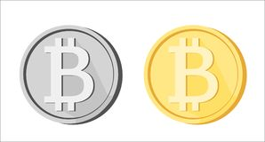 Bitcoin BTC icons greyscale golden yellow isolated. Bitcoin icons greyscale and golden yellow isolated on white background. Blockchain cryptocurrency BTC sign Royalty Free Stock Image