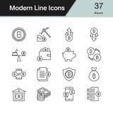 Bitcoin icons. Modern line design set 37. For presentation, graphic design, mobile application, web design, infographics. vector illustration