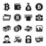 Bitcoin icons set Stock Photo
