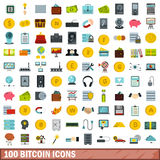 100 bitcoin icons set, flat style Stock Photography