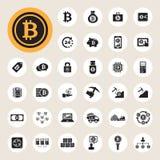 Bitcoin icons set stock illustration
