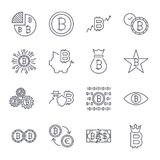 Bitcoin icons set for internet money crypto currency symbol and coin image for using in web. Editable Stroke. EPS 10 Royalty Free Stock Photo