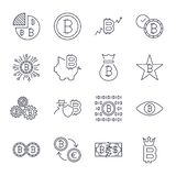 Bitcoin icons set for internet money crypto currency symbol and coin image for using in web. Editable Stroke vector illustration