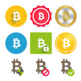 Bitcoin icons set Stock Photography