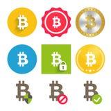Bitcoin-Ikonen eingestellt vektor abbildung