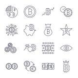 Bitcoin-Ikonen stellten f?r Internet-Geldschl?sselw?hrungszeichen und M?nzenbild f?r die Anwendung im Netz ein Editable Anschlag vektor abbildung