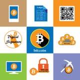 Bitcoin ikony kolekcja Obrazy Stock