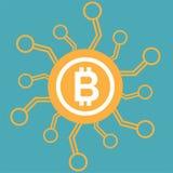 Bitcoin ikony wektor cyfrowy pieniądze dla sieć projekta app lub wiszącej ozdoby Cryptocurrency symbolu wizerunek Obraz Royalty Free