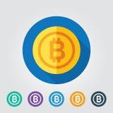 Bitcoin ikony wektor cyfrowy pieniądze dla sieć projekta app lub wiszącej ozdoby Cryptocurrency symbolu wizerunek Zdjęcia Royalty Free