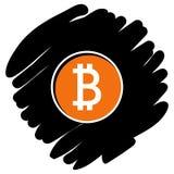 Bitcoin ikony wektorowa ilustracja na czarnym tle zdjęcia stock