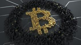 Bitcoin Il calcolo di sminuzza o estrazione mineraria Il segno di valuta builded dalle cifre sul chip immagine stock